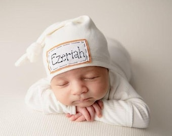 CREAM: personalized baby hat, Baby name hat, personalized hat, knot beanie, photo prop, name hat, knots, baby hat, birth announcement