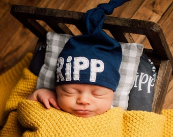 "NAVY ""JACK"" hat: personalized baby hat - hospital hat - newborn name hat - newborn hat - baby shower gift - boy hat - baby name hat - knots"