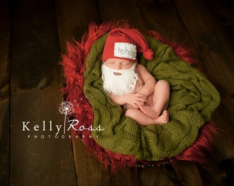 HoHoHo hat, knot beanie, newborn hat, baby hat, KNOTS, photo prop, hospital hat, santa baby hat, name hat