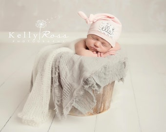 SOFT PINK: Name hat, personalized hat, knot beanie, photography prop, baby hat, knots, newborn photography prop, hospital hat