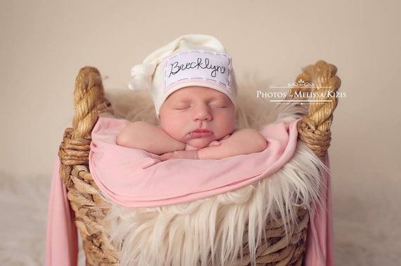 CREAM  Baby name hat personalized hat knot beanie photo  d908b6cb50a
