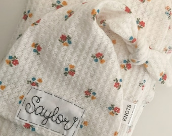 VINTAGE FLORAL: Personalized baby hat, knots name hat, newborn hat, baby hat, hospital hat, birth announcement, newborn photo prop, girl hat