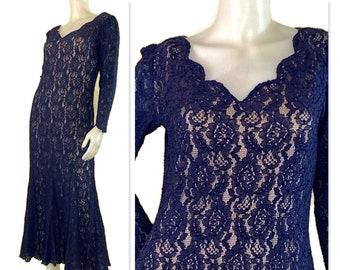 Linda Lundstrom romantic black cocktail or evening dress size 14