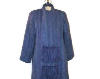 80s Mohair Coat, Blue Mohair, Mauve Mohair, Purple Mohair, Striped Mid Length Coat, Donegal Design, 1980s Midi Coat, Mohair Dress Coat,
