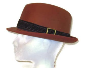 60s Leather Fedora Brown Fedora Brown Leather Hat 1960s Leather Hat  Mens Leather Hat Vintage Leather Hat Mens Size 7 Hat