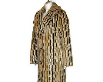 70s Long Coat, Faux Fur Coat, Striped Coat 1970s Winter Coat, Striped Winter Coat, Winter Dress Coat, Made in Canada, Striped Faux Fur