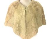 50s Cream Fur Cape, Short Fur Cape, Evening Caplet, 1950s Fur Wrap, Lamb Fur Stole