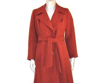 60s Wool Coat, Rust Wool Coat, Princess Coat, 1960s Belted Coat, Virgin Wool Coat, Winter Dress Coat, Made in Canada
