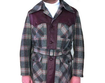 60s Mens Plaid Coat, Thigh Length, Belted Coat, Leather Trim, Maroon Leather, 1960s Wool Coat, Gray Maroon Coat,  Lined Winter Coat
