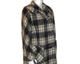 60s Mohair Coat, Black White Coat, 1960s Plaid Coat, Plaid Car Coat,  Dress Coat, Thigh Length Coat, Purple Black White, Plaid Mohair Coat
