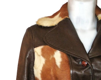 70s Leather Coat, Leather & Cowhide, Brown Leather Coat, 1970s Belted Coat, Brown Winter Coat, Made in Canada, Ponyskin Cowhide, Coat  Liner