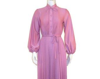 70s Secretary Dress Pink Spring Dress Pink Shirt Dress  Rose Pink Dress 1970s Pink Day Dress Dusty Rose Dress Pleated Skirt Dress