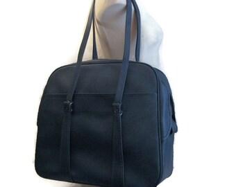 d69183ff0cd9 60s Blue Suitcase Blue Carry On Bag Denim Blue Tote Blue Flight Bag 1960s  Overnight Bag Blue Travel Bag Blue Vinyl Bag Blue Shoulder Bag