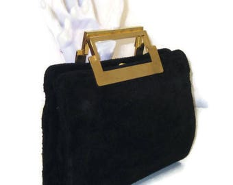 60s Suede Purse Black Suede Bag 1960s Suede Handbag Suede Pocketbook Small  Black Purse Black Pocketbook Small Suede Purse c613ddc2950a9