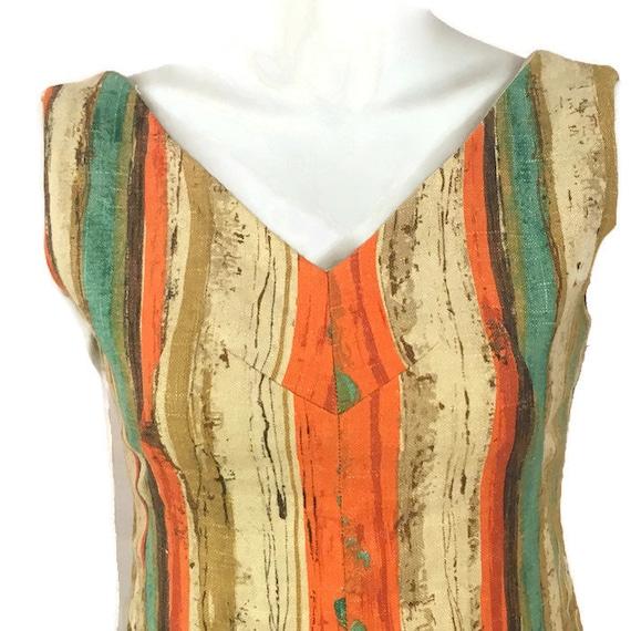 50s Striped Barkcloth Dress, Vintage 1950s Midi D… - image 3