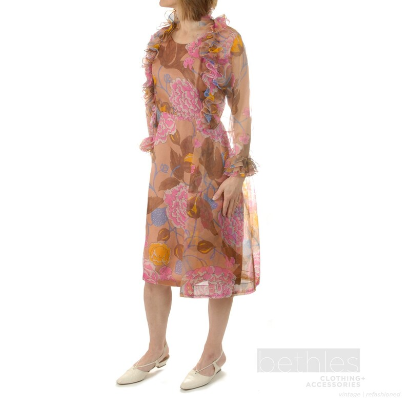 4d4f4e3f 1960s Chiffon Dress and Coat Floral Print Sheath Dress and | Etsy