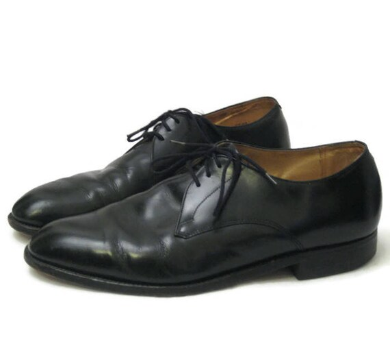 70s Leather Dress Shoes, 1970s Black Bulcher , Mens 11 F Shoe