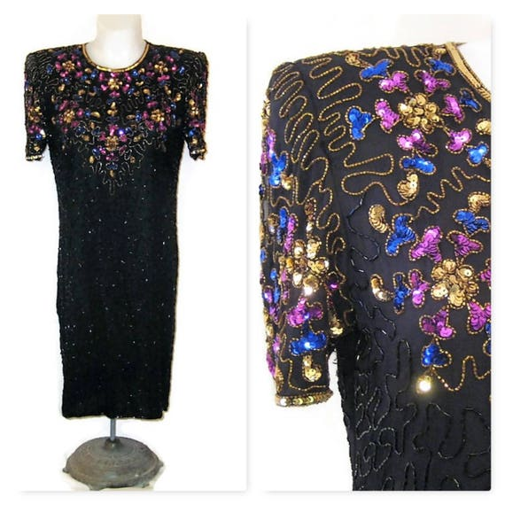 80s Party Dress, Silk Beaded & Seqined Dress, 1980