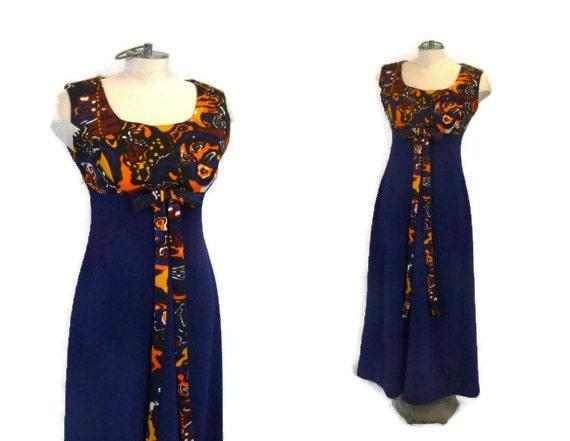 1960s MOD Sleevless Maxi Dress with Orange Black B