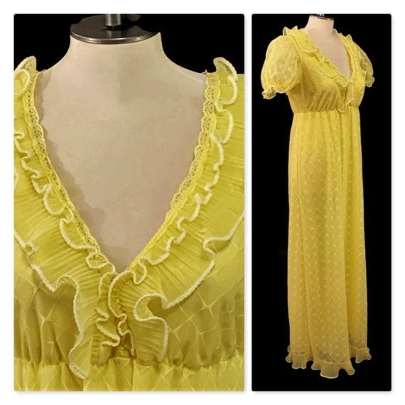 1960s Long Yellow Nightgown, Vintage 60s Nightie,