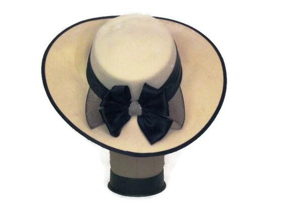 80s Wedding Hat Formal Hat Ivory Black Hat 1980s H