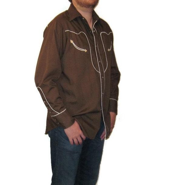 70s Western Shirt Brown Dress Shirt  Western Shir… - image 2