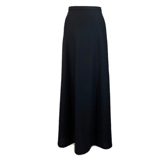 Vintage 70s Long Black House Skirt, 1970s Black Ma