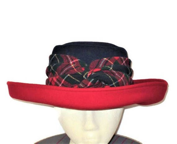 70s Red Tartan Hat, Red Navy Hat, Made in USA Hat,