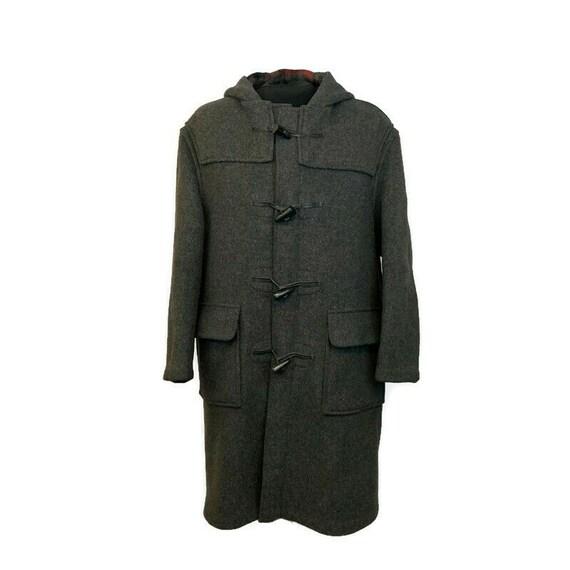 Vintage 70s Charcoal Grey Duffle Coat, 1970s Hood… - image 2