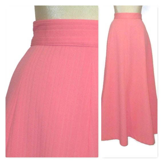 Vintage 70s Plus Size Pink Maxi Skirt, 1970s High