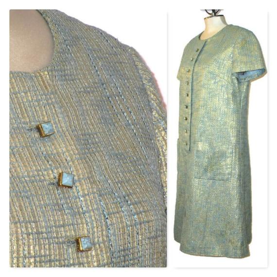 1960s Plus Size Dress, 60s Blue & Gold Dress