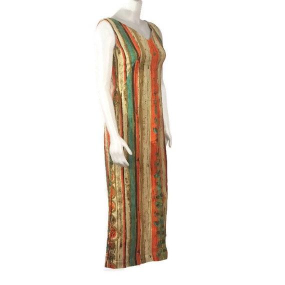 50s Striped Barkcloth Dress, Vintage 1950s Midi D… - image 2