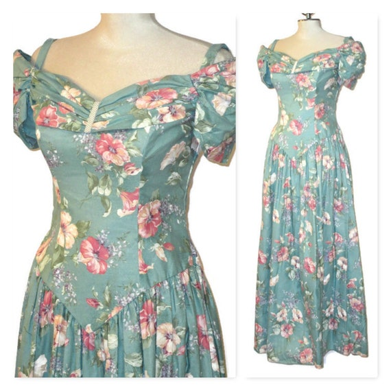 80s Floral Bridesmaid Dress, Vintage 80s Summer Dr