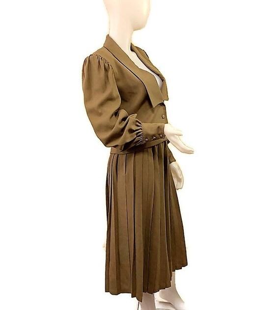 80s Virgin Wool Suit, Khaki Brown Suit, Jacket an… - image 4