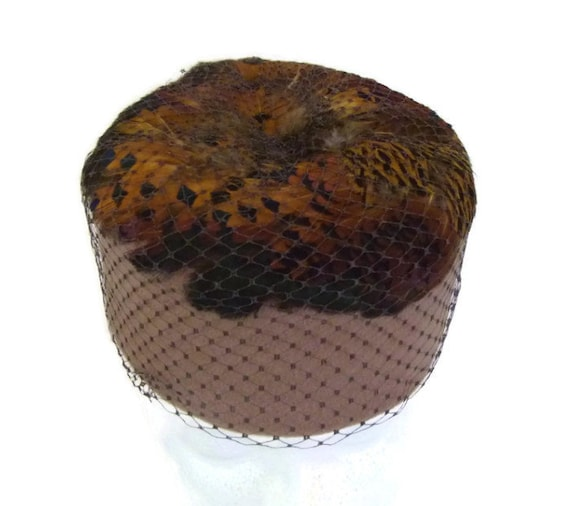 1950s Hat Pillbox Hat Feathers and Veil  Brown Hat