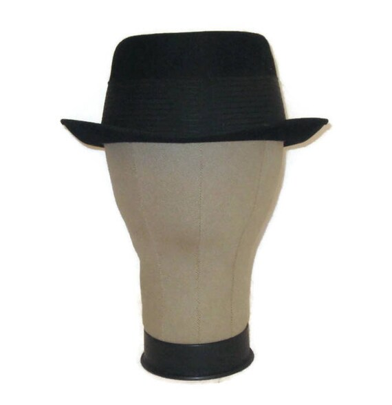 50s Pork Pie Hat Black Pork Pie  Dress Hat Black D