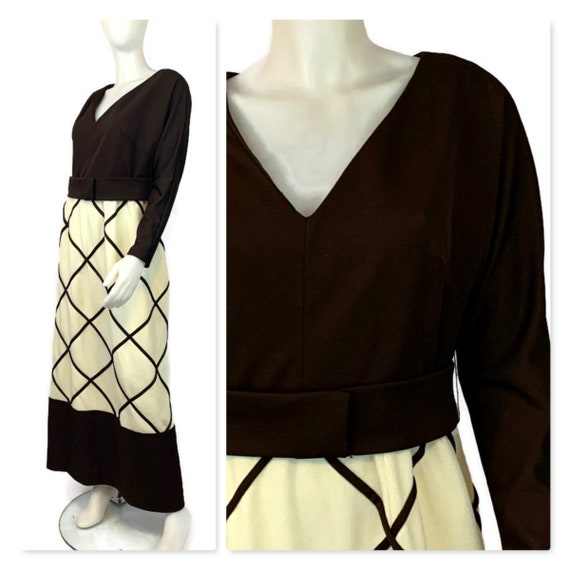 Vintage 60s Brown & Cream Maxi Dress, 1960s Hostes