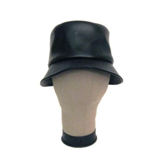 60s MOD Bucket Hat Faux Leather Hat Black Bucket H