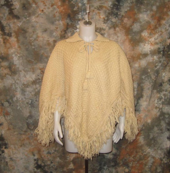60s Poncho Boho Poncho Off White Poncho Cream Knit