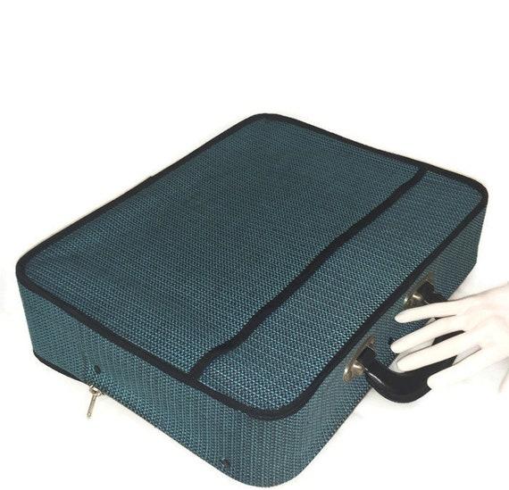 60s Soft Sided Blue Suitcase,  Vintage 1960s Child