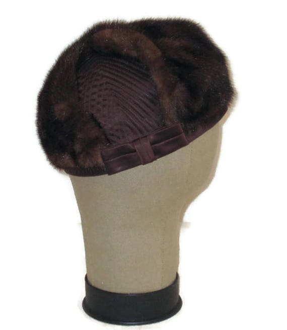 60s Fur Pillbox Hat, Fur Satin Hat, Brown Fur Hat,