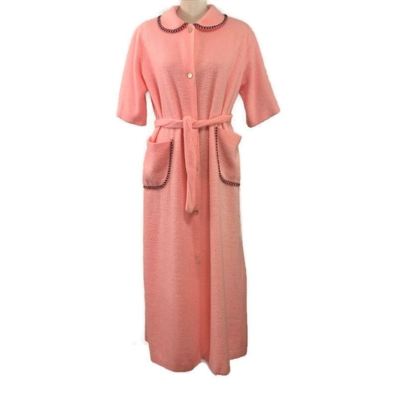 60s Fuzzy Pink Robe, Vintage 1960s Robe, Long Plus