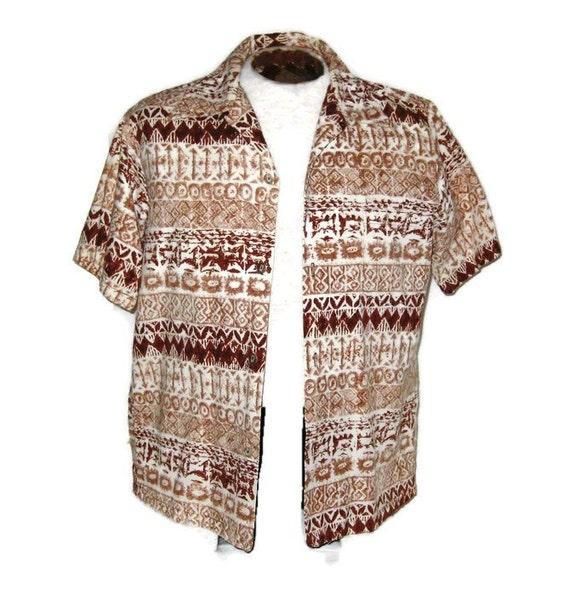60s Hawaiian Shirt Mens Shirt Mens Brown Shirt 196