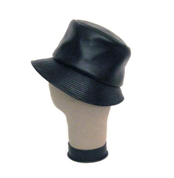 4551557a18918e 60s MOD Bucket Hat Faux Leather Hat Black Bucket Hat MOD Black | Etsy