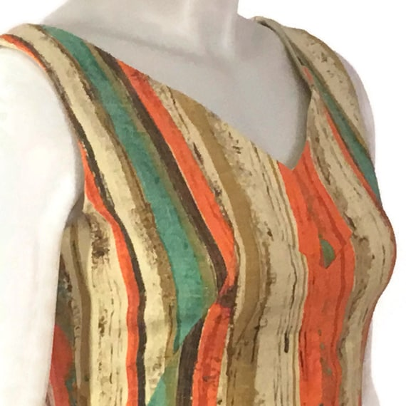 50s Striped Barkcloth Dress, Vintage 1950s Midi D… - image 6