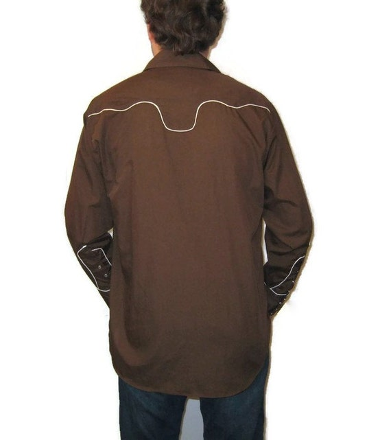 70s Western Shirt Brown Dress Shirt  Western Shir… - image 3