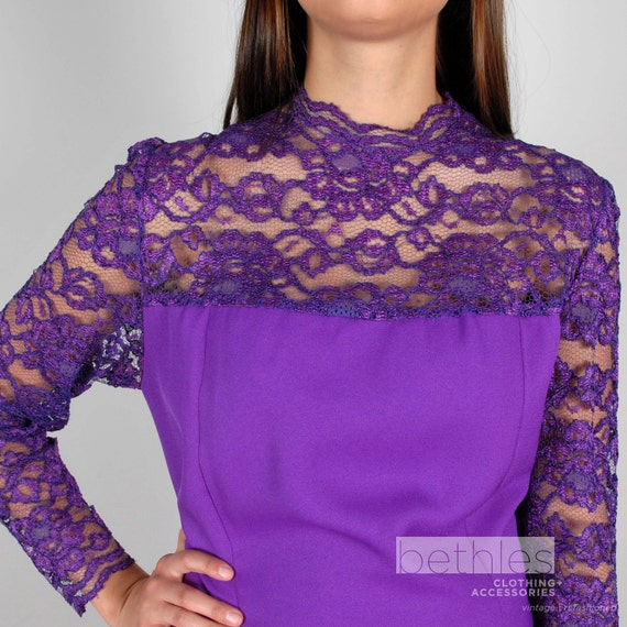 1960s Dress Purple Dress with Lace Long Sleeve Dre