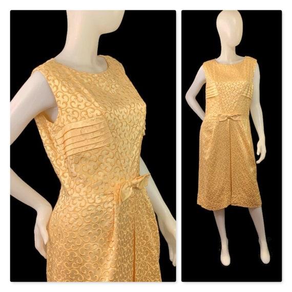 50s Gold Satin Cocktail Dress, Vintage 1950s Dress