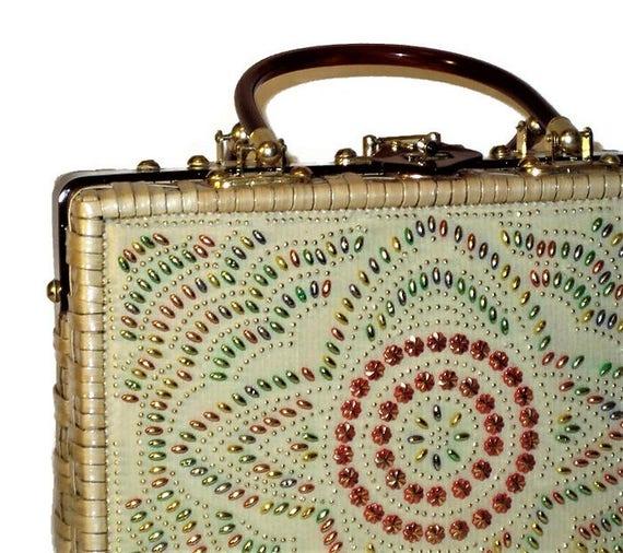 50s Wicker Purse,  Coated Wicker Purse, Beads and