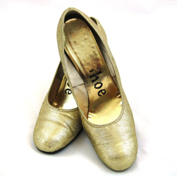 50s Gold Shoes Gold Fabric Shoes Gold Lame Shoes 1